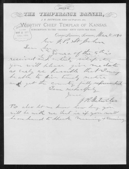 J R Detwiler to Governor John St. John - Page