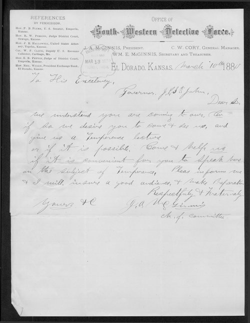J.A. McGinnis to Governor John St. John - Page