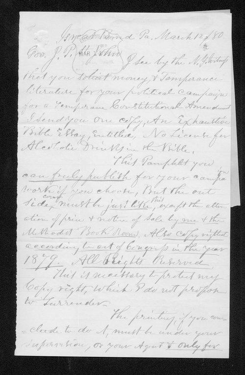 Henry McKinney to Governor John St. John - Page