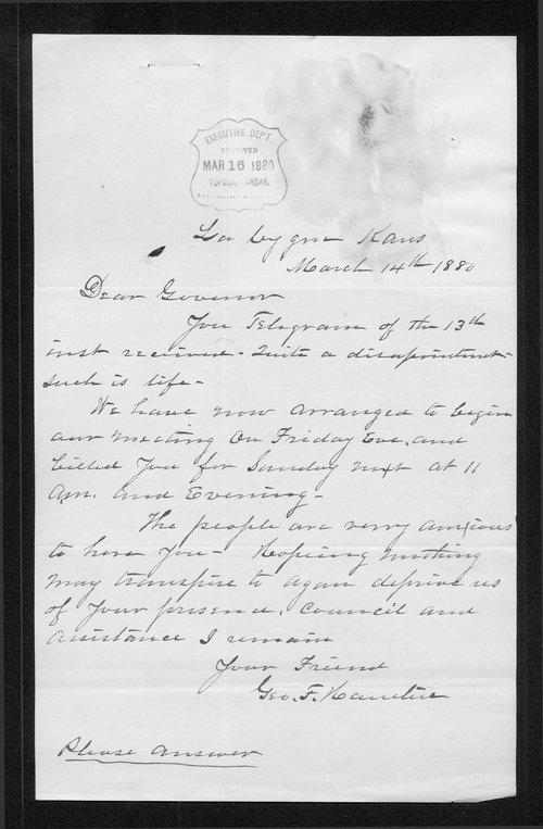 George F. Hamlin to Governor John St. John - Page