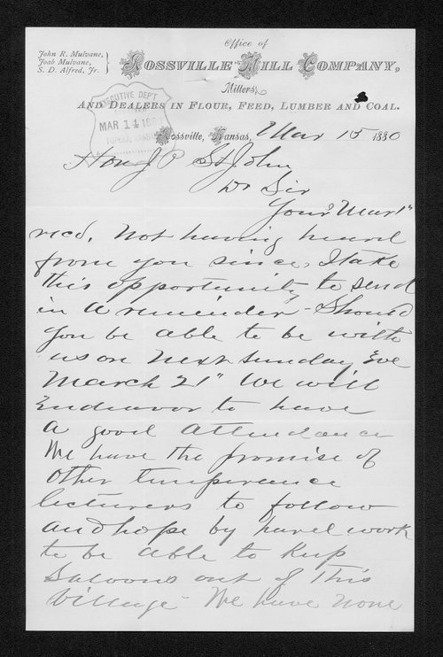 C.B. Alfred to Governor John St. John - Page