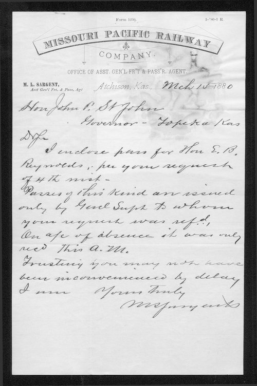 M. L. Sargent to Governor John St. John - Page