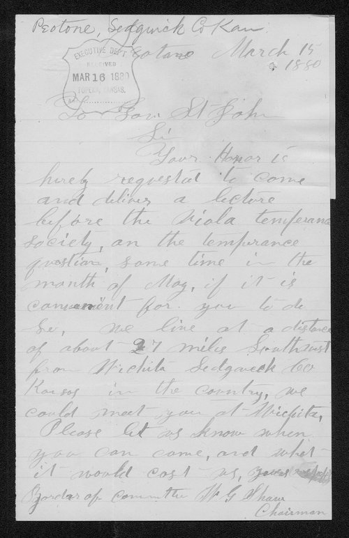 W. G. Shaw to Governor John St. John - Page