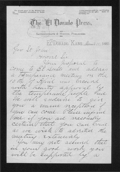 J.M. Satterthwaite to Governor John St. John - Page