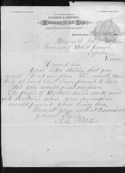 A. S. Patchin to Governor John St. John - Page