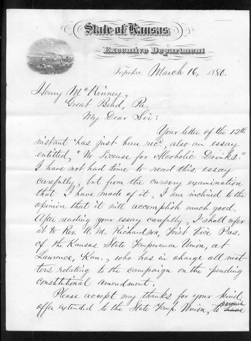 Governor John St. John to Henry McKinney - Page