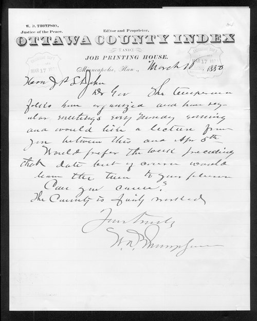 W. D. Thompson to Governor John St. John - Page