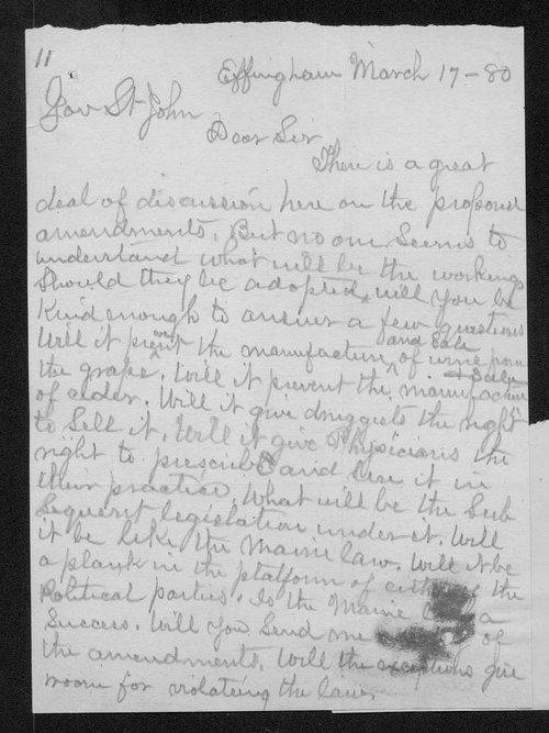 George J. Martin to Governor John St. John - Page