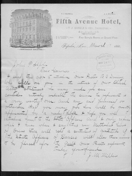 J.M. Miller to Governor John St. John - Page