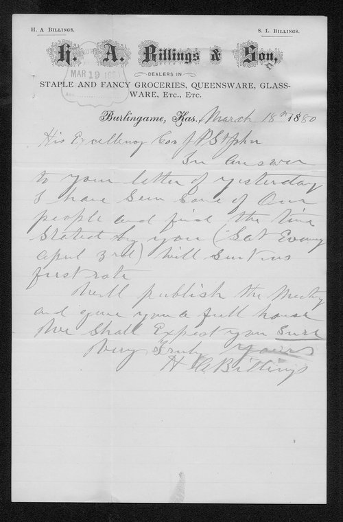 H. A. Billings to Governor John St. John - Page
