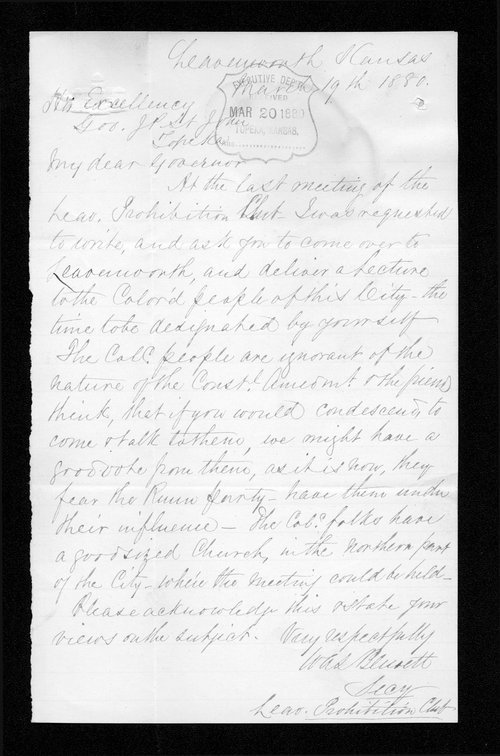 W. A. Blewett to Governor John St. John - Page