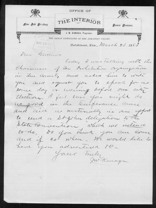 J. W. Kanaga to Governor John St. John - Page