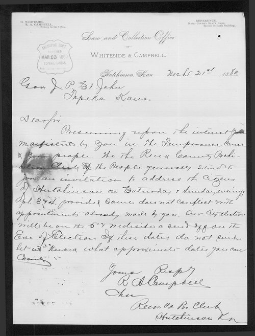 R. A. Campbell to Governor John St. John - Page