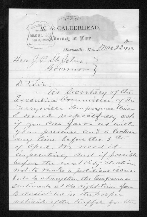 M. A. Calderhead to Governor John St. John - Page