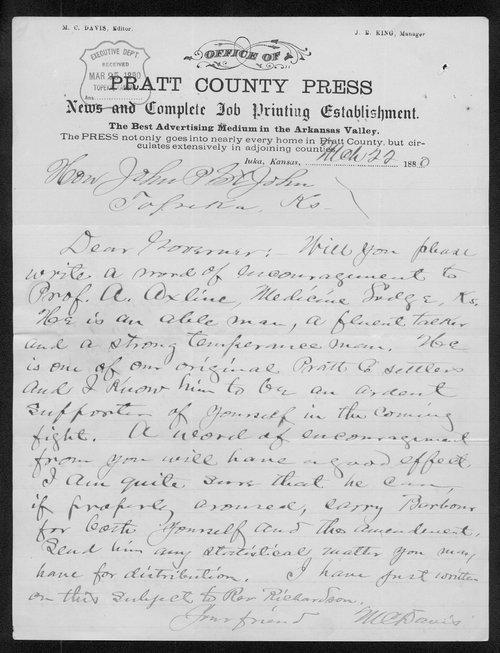 M. C. Davis to Governor John St. John - Page