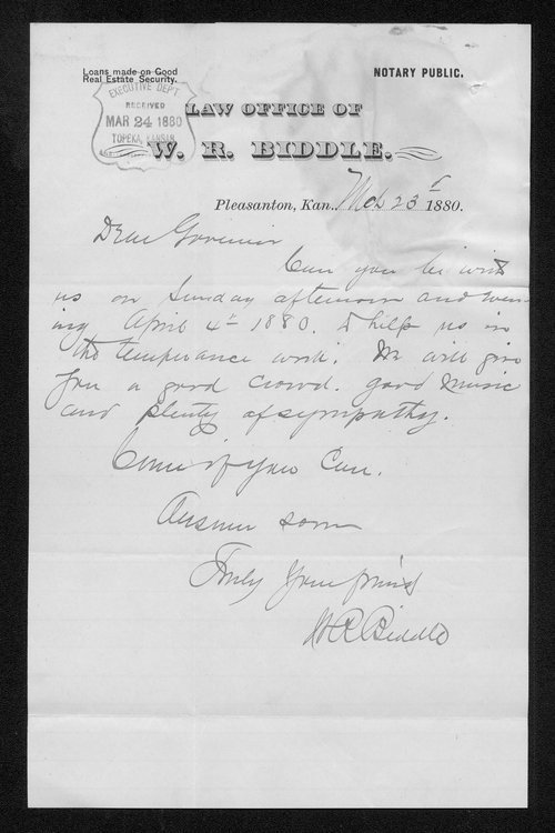 W. R. Biddle to Governor John St. John - Page