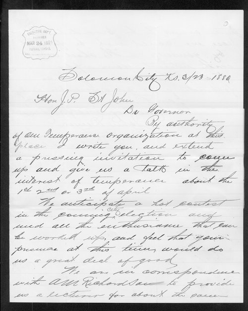 John Demar to Governor John St. John - Page
