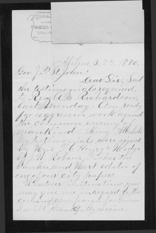 J. C. Harkness to Governor John St. John - Page