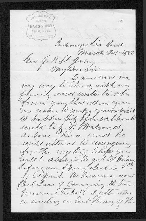 M. J. Mohler to Governor John St. John - Page