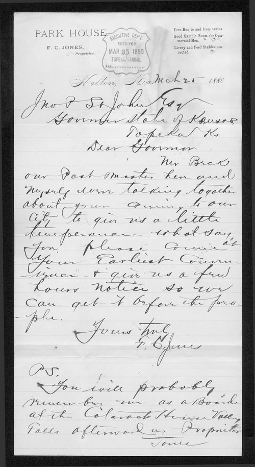 F. C. Jones to Governor John St. John - Page