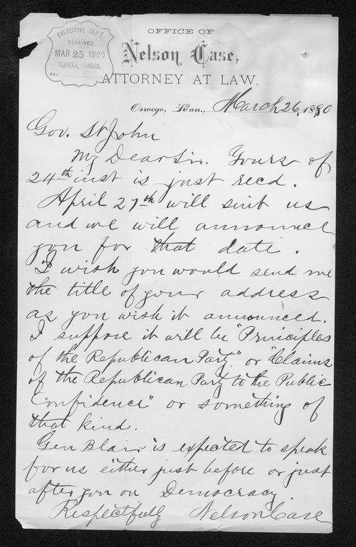 Nelson Case to Governor John St. John - Page