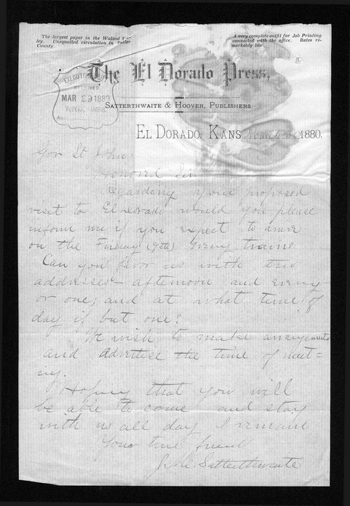 J. M. Satterthwaite to Governor John St. John - Page