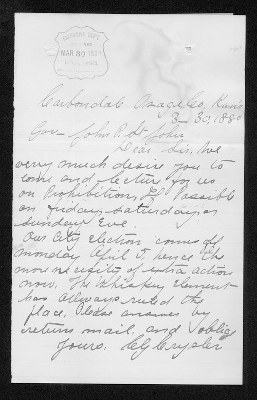 C. G. Crysler to Governor John St. John - Page