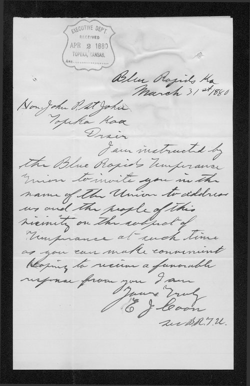 E. J. Coon to Governor John St. John - Page