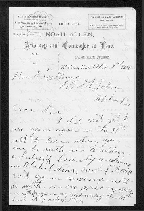 Noah Allen to Governor John St. John - Page
