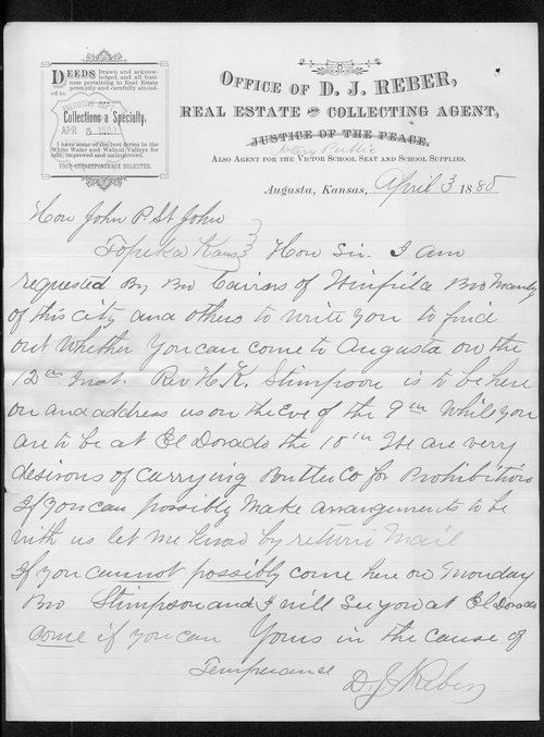 D. J. Reber to Governor John St. John - Page