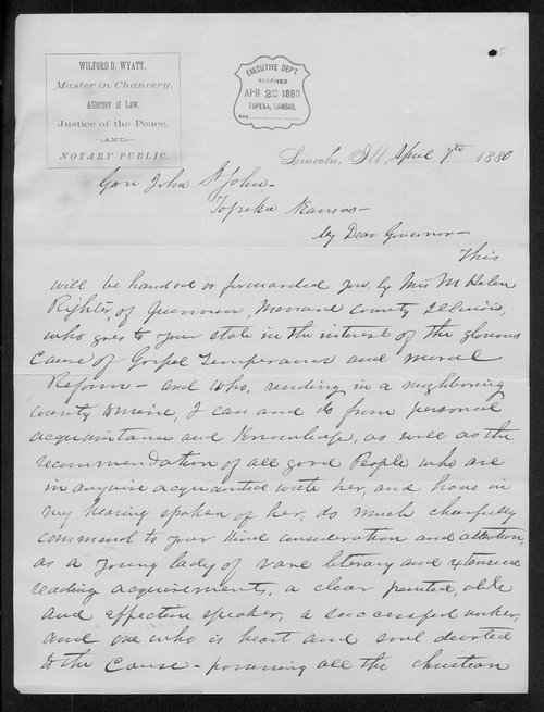 Wolford D. Wyatt to Governor John St. John - Page