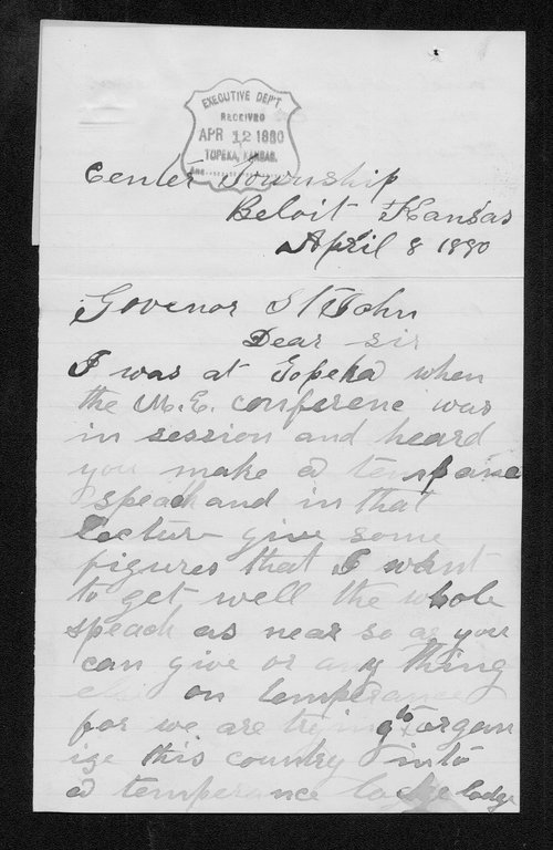 H. E. Logan to Governor John St. John - Page