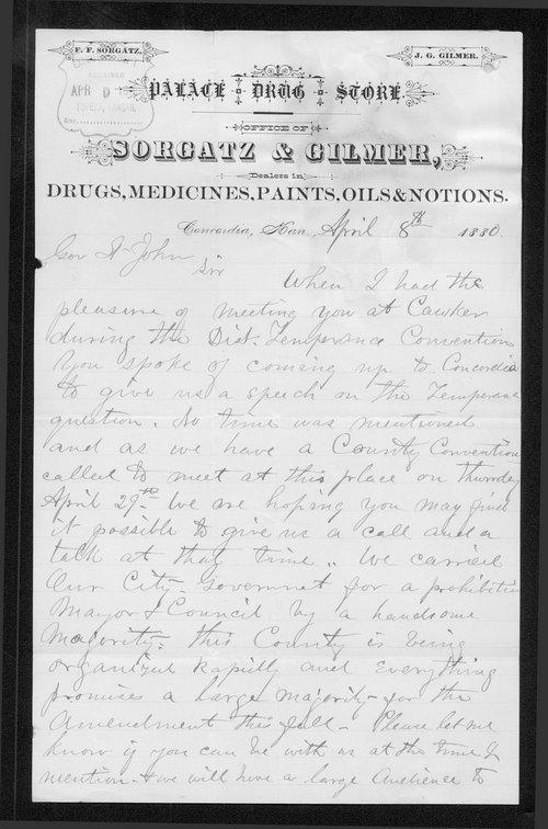 John G. Gilmer to Governor John St. John - Page
