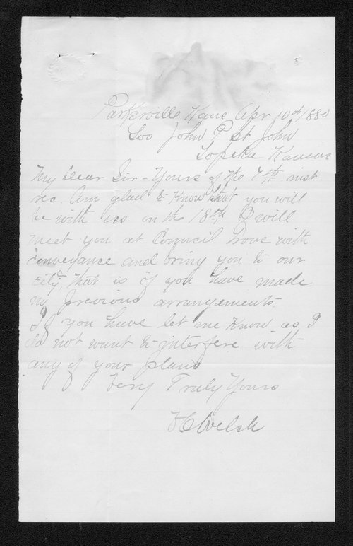 O. C. Welch to Governor John St. John - Page