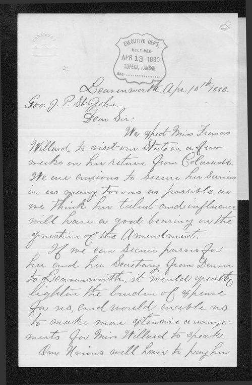 Mrs. H. G. Fields to Governor John St. John - Page