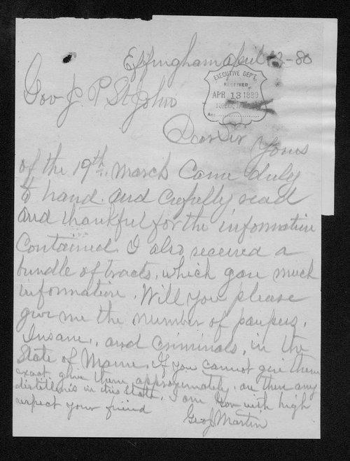 George J. Martin to Governor John St. John - Page