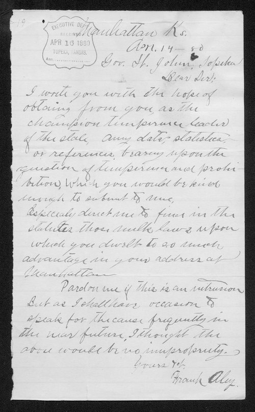 Frank Aley to Governor John St. John - Page