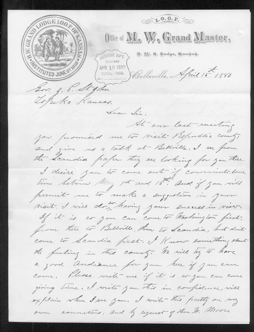 W. H. Pilkinstan to Governor John St. John - Page