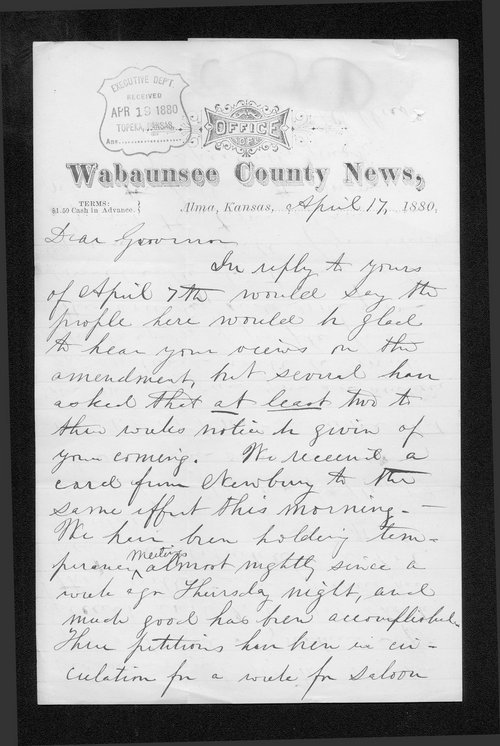 A. Sellers to Governor John St. John - Page