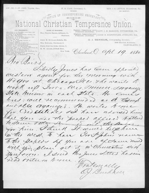 O. J. Benham to Governor John St. John - Page
