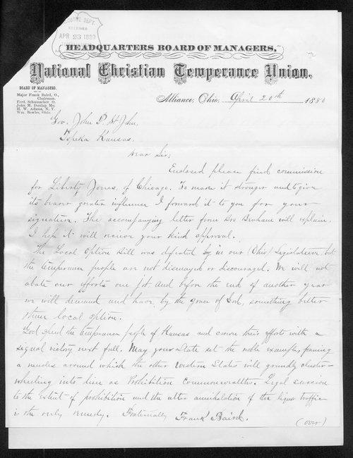 Frank Baird to Governor John St. John - Page