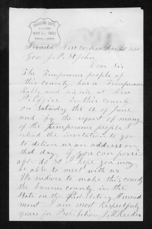 J. W. Reeder to Governor John St. John - Page