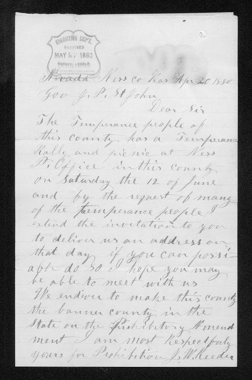 J. W. Reeder to Governor John St. John - Page