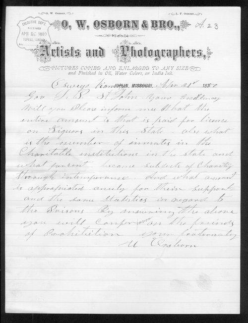 O. W. Osborn to Governor John St. John - Page