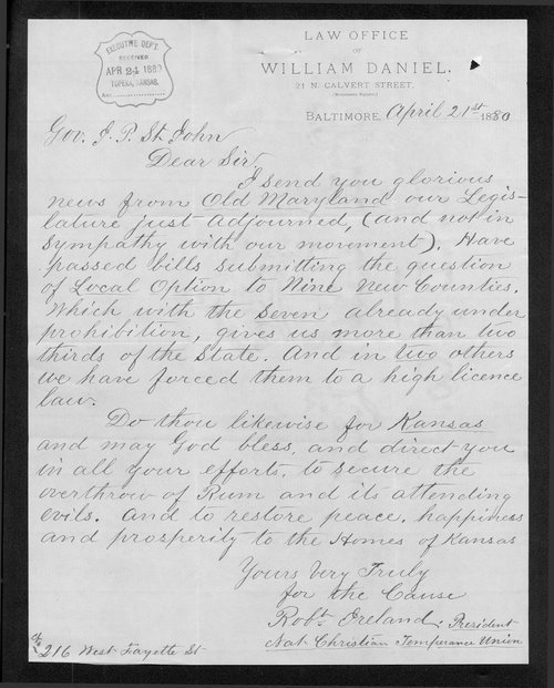 Robert Ireland to Governor John St. John - Page