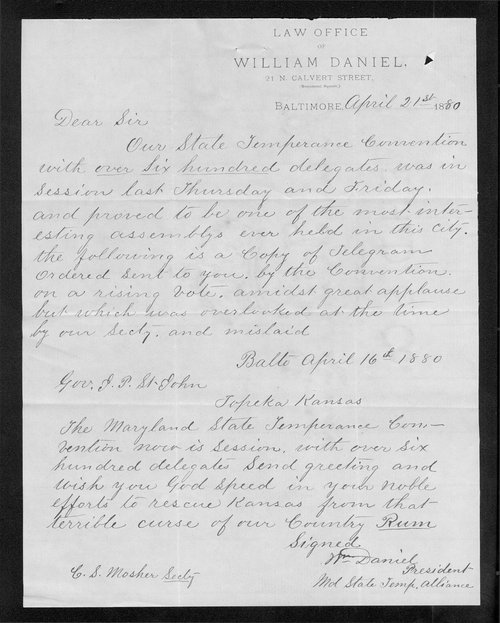 William Daniel to Governor John St. John - Page