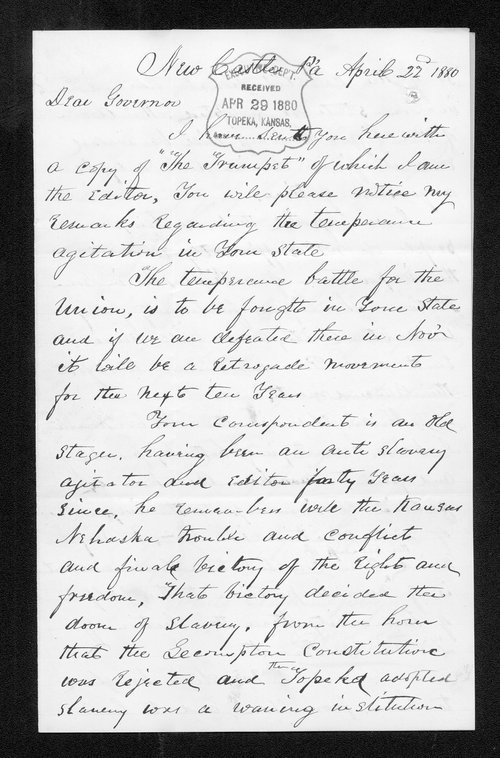D. L. Starr to Governor John St. John - Page