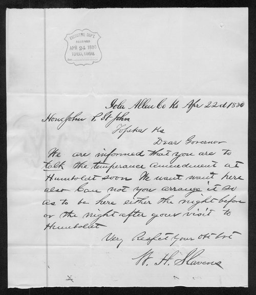 W. H. Slavens to Governor John St. John - Page