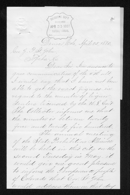 F. A. Noyes to Governor John St. John - Page