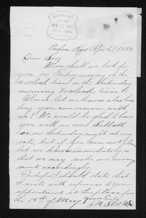 J. M. Still to Governor John St. John - Page